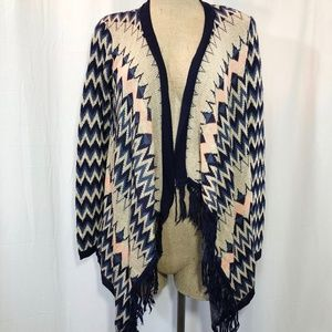 Open Front Draped Chevron Fringe Sweater Cardigan